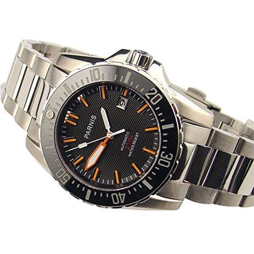 Whatswatch 43mm Parnis black dial Sapphire glass waterproof 200m automatic mens dive watch PA-01120