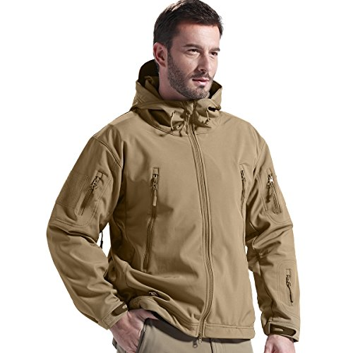 FREE SOLDIER Men's Tactical Jacket Waterproof Army Military Hooded Jacket Softshell Autumn Winter Jacket (Wolf brown L) (Army Up Jacket Warm)