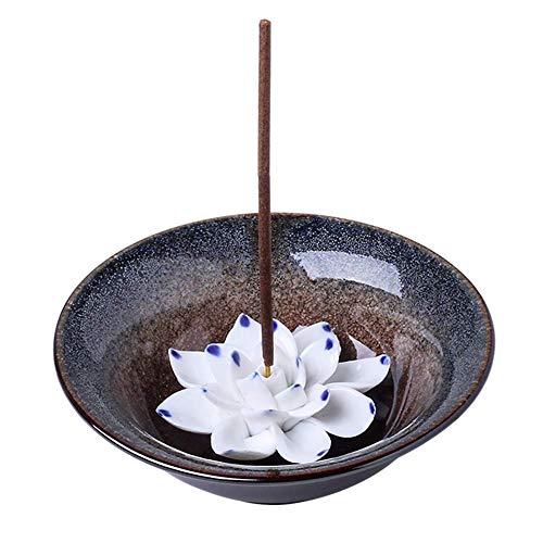 Uniidea Incense Burner Bowl, Ceramic Handicraft Incense Holder for Sticks, Coil Lotus Ash Catcher Tray 4.62 Inch Gray (The Best Incense Brand)