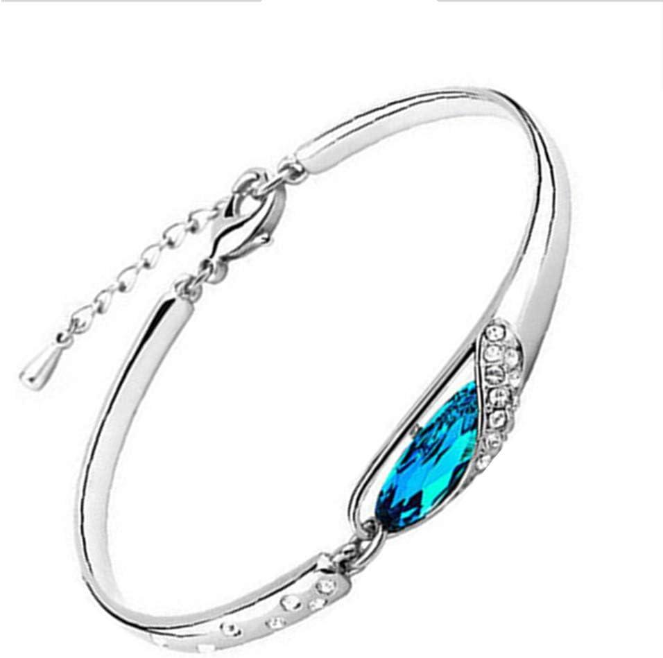 F-blue Regalos de la joyería Elegante Rhinestone Mujeres del Cielo Azul de la Piedra Preciosa del Aniversario Adornos Pulsera de Novia