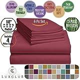Extra Large King Size Bed Sheets 6 PC LuxClub Sheet Set Bamboo Sheets Deep Pockets 18