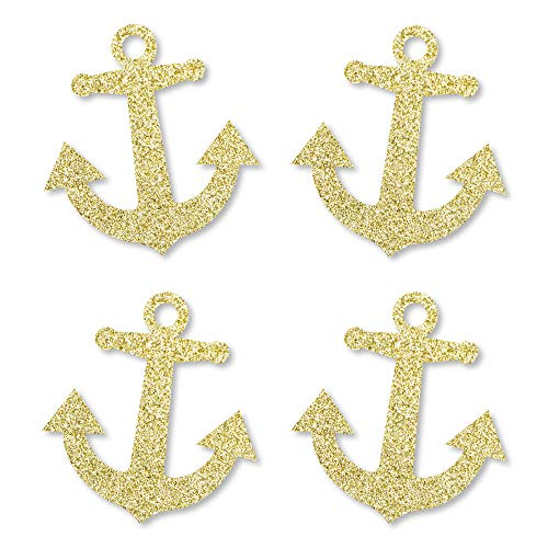 Gold Glitter Anchor - No-Mess Real Gold Glitter Cut-Outs - Nautical Party Confetti - Set of 24 ()