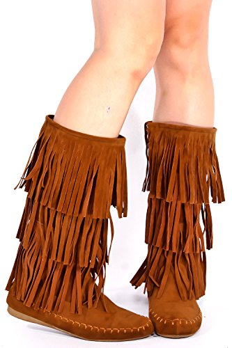 Lolli Couture Young Aloud Faux Suede Moccasin Style Fringe Boot