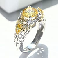 by lucky Elegant Citrine 925 Silver Butterfly Ring Wedding Fashion Women Jewelry Sz 6-10 (6)