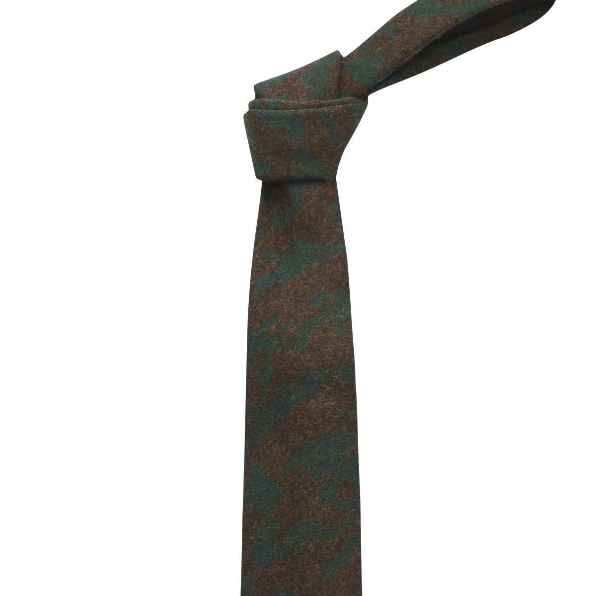 King /& Priory Cravatta Verde Oliva a Quadretti con Disegno a Spina di Pesce