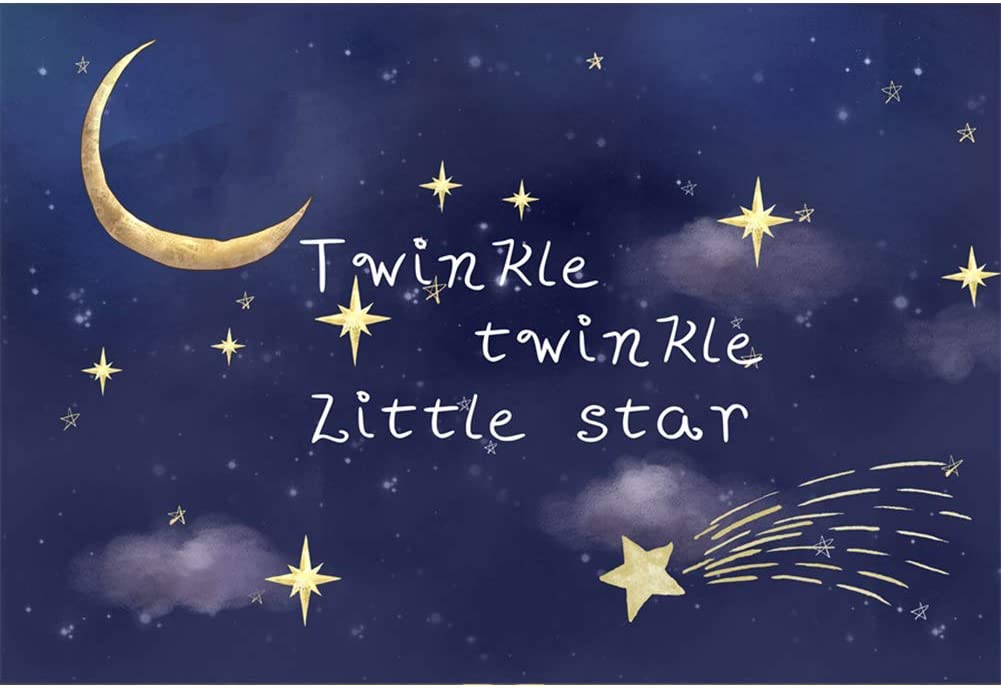 CSFOTO 7x5ft Twinkle Twinkle Little Star Photography Backdrop for Birthday Baby Shower Backdrop Golden Glitter Starry Sky Moon Birthday Party Banner Interior Decor Kids Newborn Studio Props Polyester