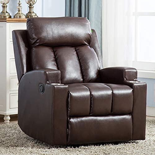 ANJ Breathable PU Leather Recliner Chair with 2 Cup Holders Contemporary Theater Seating Padded Single Sofa for Living Room Chocolate