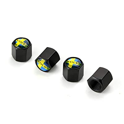 HYFML Zinc Alloy Black Tire Valve Cap for Volvo A Set of Four pcs: Automotive