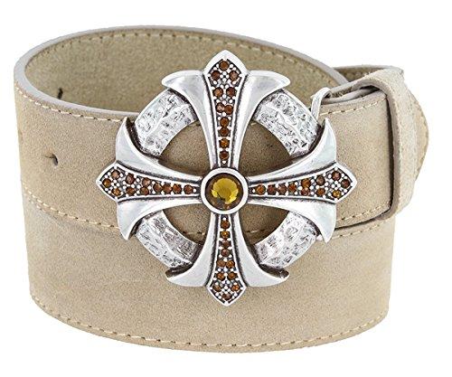 Hagora Women's Genuine Suede Zirconia Inlay Celtic Cross Buckle 1.5