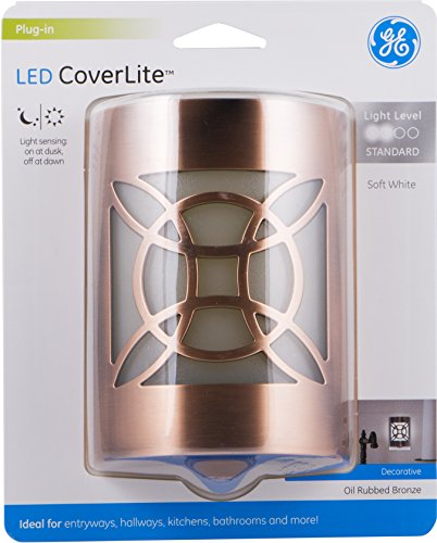 GE LED CoverLite, Celtic Design, Oil Rubbed Bronze Finish, Plug-In Night Light, Light Sensing, Dusk to Dawn Sensor, Energy-Efficient, Ideal for Hallways, Kitchens, Bathrooms, Bedrooms, Offices, 11332