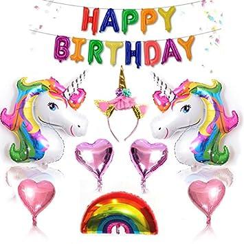 Amazon.com: Unicornio cumpleaños fiesta decoraciones ...