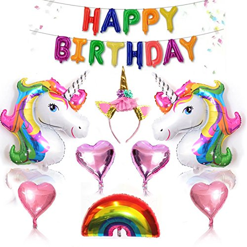 Unicorn Birthday Party Decorations,Unicorn Party Supplies Set Unicorn Birthday Banner Balloons,for Infant Girl Boy Lady Kids Adult Birthday Party -Large Magical Unicorn Foil Balloon (A)
