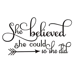 ZSSZ She Believed she Could so she did Wall Decal Home Decor Sayings Inspirational Quote Wall Words Sticker Girl Nursery Bedroom Décor