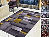 Handcraft Rugs Abstract Geometric Modern Squares Pattern Yellow/Silver/Grey Area Rug (8 X10, Yellow)