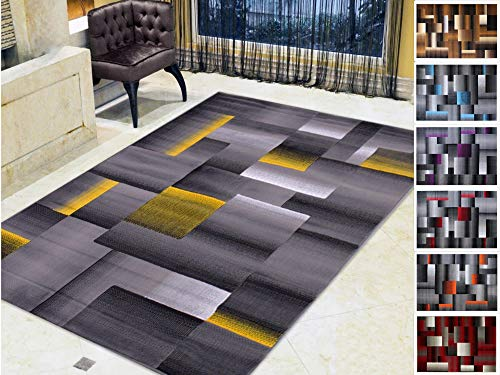 - Handcraft Rugs Abstract Geometric Modern Squares Pattern Yellow/Silver/Gray Area Rug (5X7, Yellow)