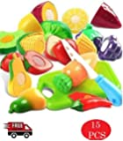 Kingwell Realistic Sliceable Cutting Fruits and Vegetables Play Toy Set
