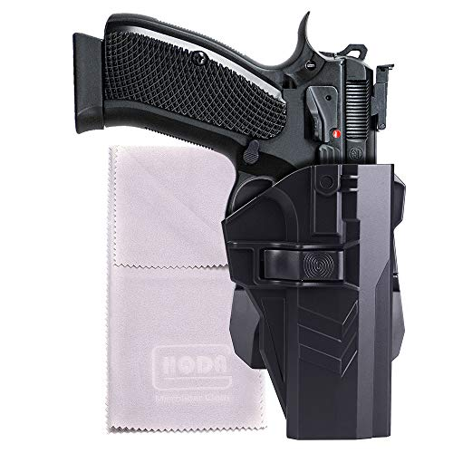 HQDA OWB Holster: Fits CZ 75 SP-01 Shadow, with 360° Adjustable Cant, Tactical Outside Waistband Polymer Paddle Holder Carry, Pistol Handgun Duty Belt Case Right Handed, Black