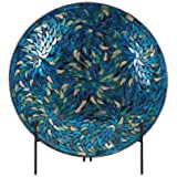 IMAX 80034 Peacock Mosaic Charger and Stand, Blue