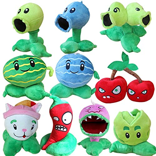 RAFGL 10Pcs/Lot Plants Vs Zombies Peashooter Chomper Cabbage Cattail Plush Stuffed Toys PVZ Plants Plush Soft Toy Doll for Kids Gifts Must-Have 1 Year Old Boy Gifts My Favourite Superhero Toys by RAFGL