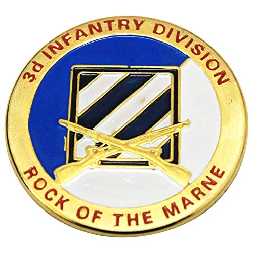 (The 3rd Infantry Division's Combat Service Identification Badge United States Army Challenge Coin A010J-The Rock of The Marne)