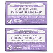 Dr. Bronner's Pure-Castile Bar Soap – Lavender, 5oz. (2 Pack)