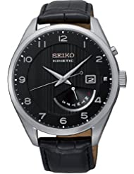 Seiko Kinetic Black Dial Black Leather Mens Watch SRN051P1