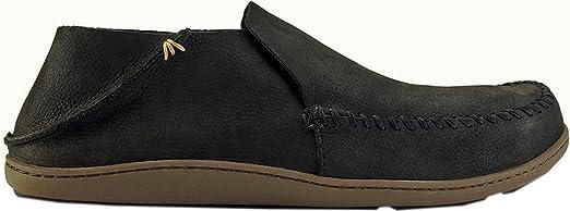 OluKai Men's Akahai Leather Moc Toe Slip-On,Onyx/Onyx Leather,US