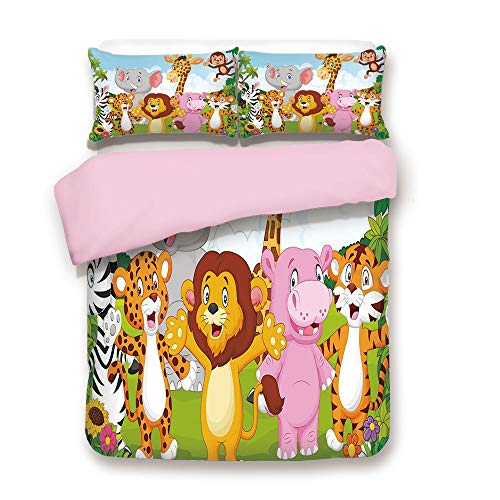 Pink Duvet Cover Set,Queen Size,Comic African Savannah Animals Playful Friendly Safari Jungle Happy Wildlife Nature Decorative,Decorative 3 Piece Bedding Set with 2 Pillow Sham,Best Gift For Girls Wom