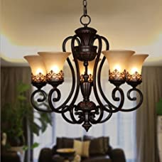 "Y&L®Luxurious Ornate Vintage Morden Candle Chandeliers Lighting 5 Lampshade Lights Bathroom Pendant Ceiling Lights Fixture Lamp for Dining Living Room Bedroom Hallway Entry D21.2"" X L27.2"""
