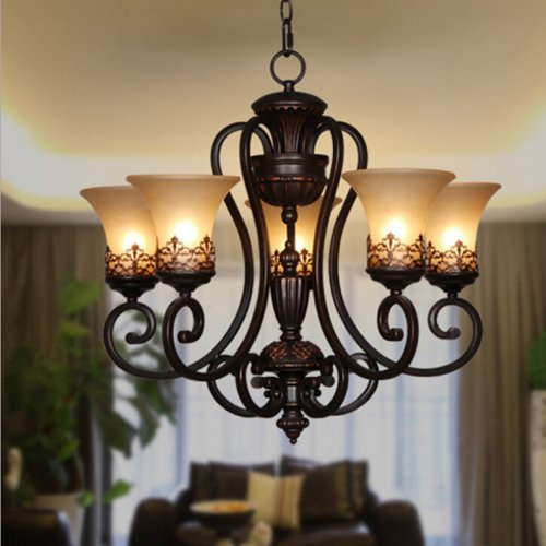 Y&L Island Candle Style Chandelier With 5 Lights Painting Metal Chandeliers / Flush Mount Living Room / Bedroom / Dining Room / Kids Room / - Island Chandelier Tiffany Style