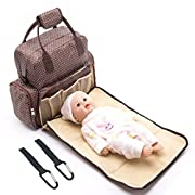 Diaper Bag Backpack Waterproof Baby Nappy Bag for Mom and Dad -Travel Backpack with Changing Pad & Stroller Straps by Seven colors(Coffee)