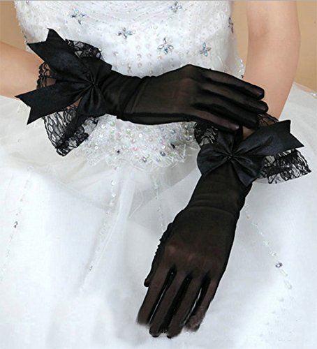Gauss Kevin Short Black Bowknot Lace Gloves UV Protection Wrist Length Prom Party Wedding by Gauss Kevin (Image #1)