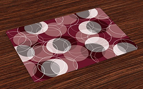 Lunarable Maroon Place Mats Set of 4, Retro Skinny Ring Shapes Overlapping Circles Funky Groovy Optical, Washable Fabric Placemats for Dining Table, Standard Size, Maroon Peach