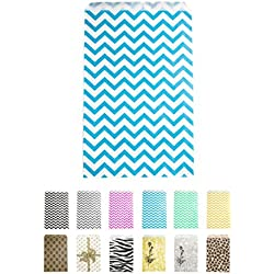 "Novel Box® Blue Chevron Print Paper Gift Merchandising Bag Bundle 6X9"" (100 Count) + Custom NB Pouch"