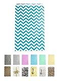 "Novel Box® Blue Chevron Print Paper Gift Merchandising Bag Bundle 6X9"" (100 Count) + Custom NB Pouch"