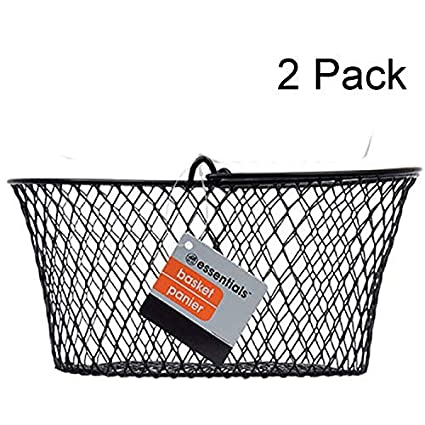 Essentials Small Black Wire Oval Baskets with Handle Set of 2 Two Pack