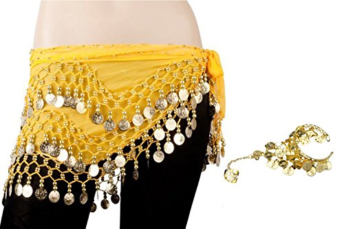 (Bellylady Gold Coins Belly Dance Hip Scarf, Wholesale Dance Belt & Gypsy Bracelet-Yellow)