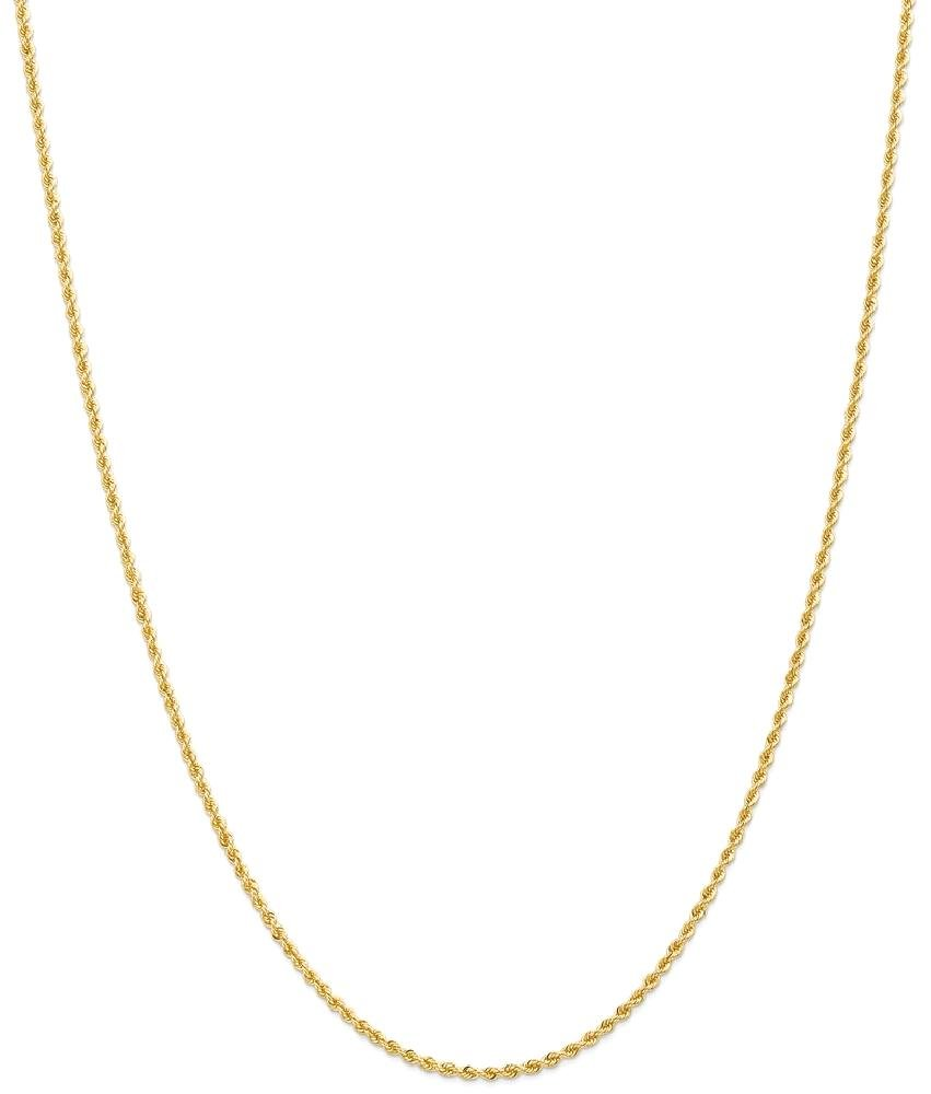 ICE CARATS 14k Yellow Gold 2mm Solid Link Rope Chain Necklace 20 Inch Fine Jewelry Gift Set For Women Heart