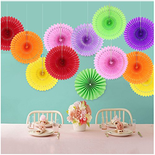 Raylinedo/® Pack of 3PCS Dark Yellow Tissue Paper Fan For Wedding Birthday Anniversary Party Christmas Girls Room Decoration Diameter 20cm