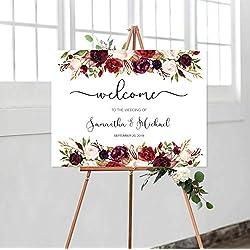 Dozili Welcome Wedding Sign Boho Floral Welcome to Our Wedding Watercolor Marsala Burgundy Maroon