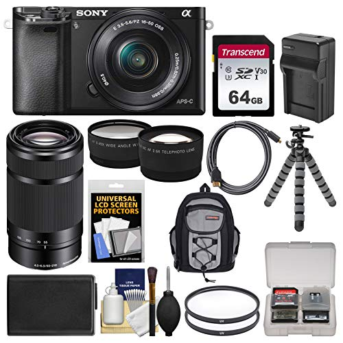 Sony Alpha A6000 Wi-Fi Digital Camera & 16-50mm Lens (Black) with 55-210mm Lens + 64GB Card + Backpack + Battery/Charger + Tripod + Kit (Sony Alpha A5100 Wi Fi Digital Camera)