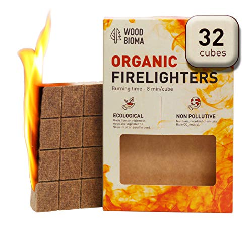 Fire Starter Chimney (Woodbioma Organic Firelighters stove 32 cubes, Fire Starter Duraflame, Charcoal, Kamado Joe, Big Green Egg, Kindle Fire Fireplace, Logs, Primo Smoker, BBQ, Barbecue, Pizza oven, Waterproof)