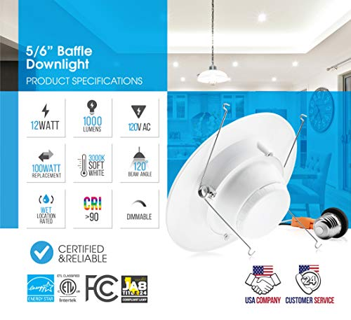 Parmida (12 Pack) 5/6 inch Dimmable LED Downlight, 12W (100W Replacement), Baffle Design, Retrofit Recessed Lighting, Can Light, LED Trim, 3000K (Soft White), 1000lm, Energy Star & ETL by Parmida LED Technologies (Image #2)