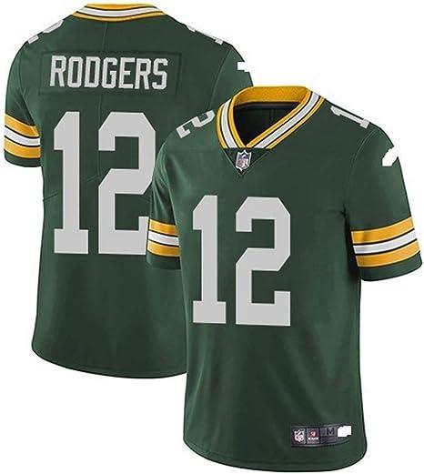 Xyy Camiseta del Jersey del fútbol de la NFL Green Bay Packers Aaron Rodgers # 12, fútbol Americano Ropa de Deporte, Camiseta Vestimenta, Ventiladores de Bordado Versión Fan Camisetas: Amazon.es: Hogar