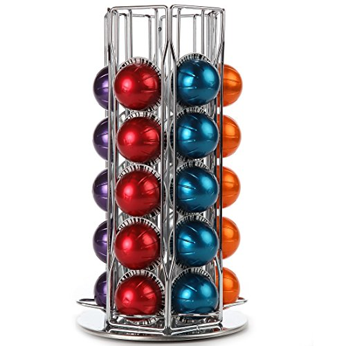 Nespresso Coffee Vertuoline Capsules Holder Carousel. Holds 30 Large Nespresso Vertuoline Pods - Chrome (Coffee pods are not included) (Nespresso Holder Wall compare prices)
