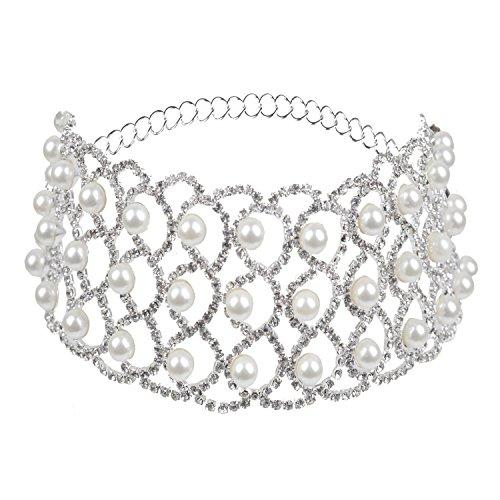 Croozy Womens 3 Row Pearl Rhinestone Choker Girls Crystal Choker Necklace Bride Collar Party Jewelry (Silver) -