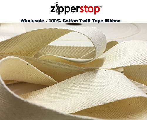 ZipperStop Wholesale - 100% Cotton Twill Tape Ribbon 100 YDS/ROLL Made in the USA (1-1/2