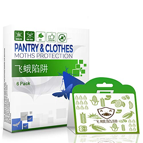 Double-Action Moth Trap 6-pack Against Pantry & Clothes Moths - Pantry Moth Trap & Clothing Moth Trap in ONE Double Protection Enhanced Pheromone Moth Trap - Eco-Friendly - No Pesticides Nor Chemicals