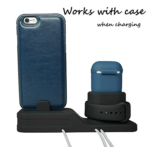 KEHANGDA 3 in 1 Charging Stand for iPhone AirPods Apple Watch Charger Dock Station Silicone,Support for Apple Watch Series 3/2/1/AirPods/iPhone X/8/8 Plus/7/7 Plus/6s Black by KEHANGDA (Image #4)