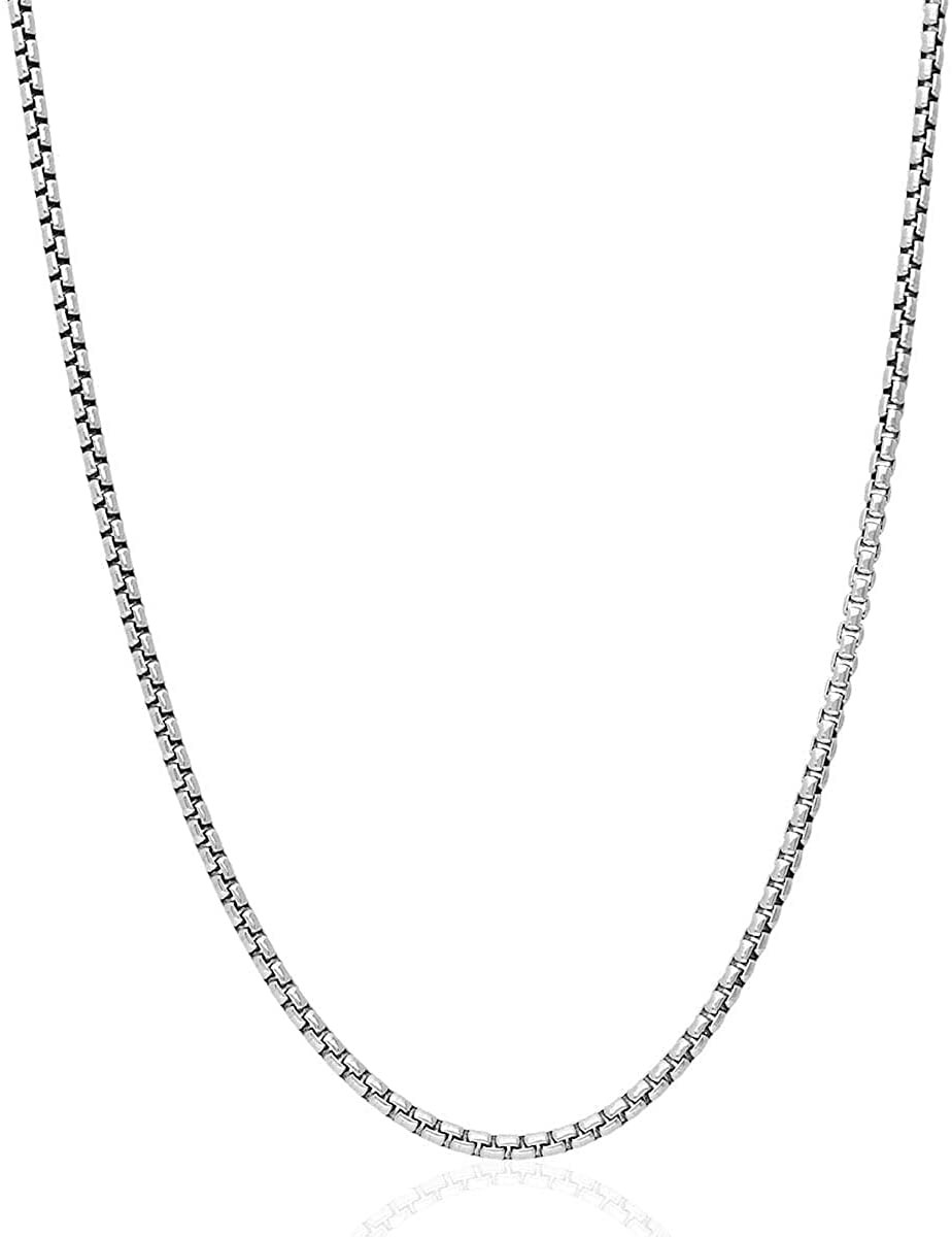 "Genuine Solid Sterling Silver Round Box Link .925 Rhodium Heavy-Duty Necklace Chains 1MM - 5MM, 16"" - 30"", Silver Chain for Men & Women, Made In Italy, Next Level Jewelry"